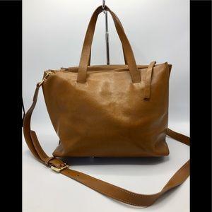 Lia Numa Italy Tan Leather Satchel Crossbody Bag